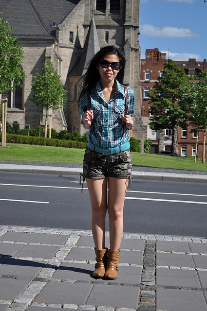 My Outfit Military Print Shorts Plaid Shirt And Flat Boots