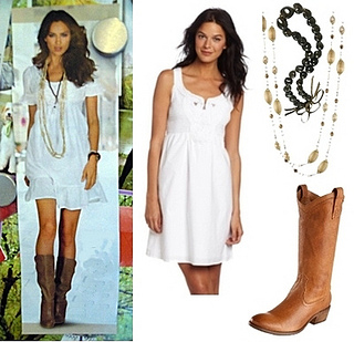 white dress and boots for summer