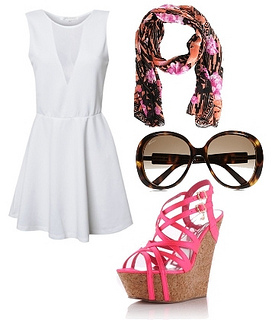 white dress with wedge sandals