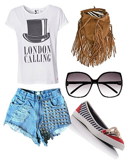 white t-shirt with vintage studded cut-off denim shorts