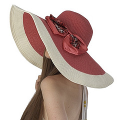 Deep Pink Floppy Sun Hat with Leopard Print Bow