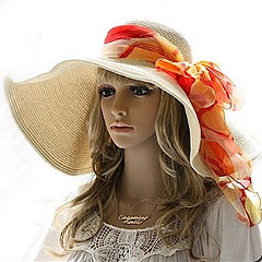 Floppy Paper Straw Sun Hat with orange scarf