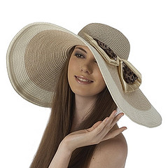 Light Brown Floppy Sun Hat with Leopard Print Bow