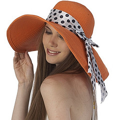 Luxury Lane Women's Orange Floppy Ribbon Sun Hat by Creative Fashion