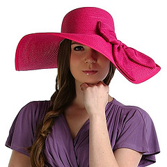 Luxury Lane Women's Pink Large Bow Floppy Sun Hat