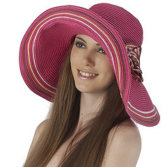 Luxury Lane Women's Rose Pink Floppy Flower Sun Hat