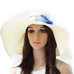 White Floppy Paper Straw Sun Hat with Removable Blue Scarf
