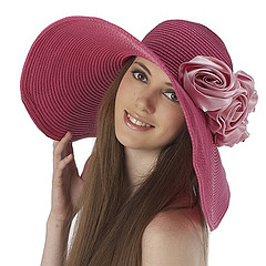 Women's Rose Pink Floppy Sun Hat with Pink Flower Appliques