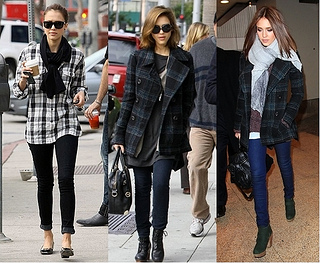 jessica alba plaid coat and scarf outfits