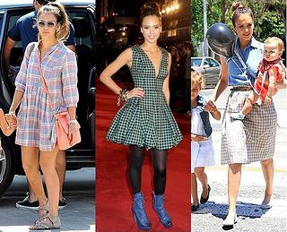 jessica alba plaid dress and skirt outfits