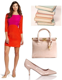 summer work outfit for colorblock dress