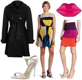 trendy look with black trench coat