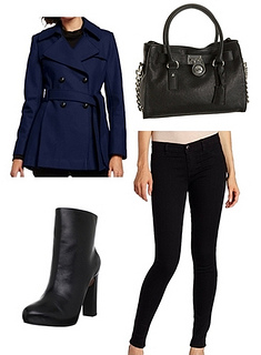 Sapphire blue coat outfit