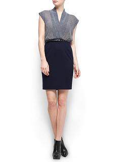 Working Dress - Mango Womens Retro Inspired Print Combi Dress