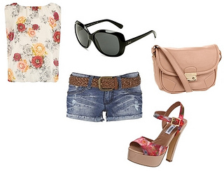 floral top with denim shorts for summer