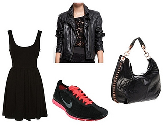 little black dress with running shoes