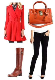 red coat outfit for fall
