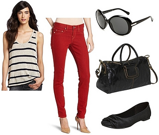 red skinny jeans for summer outfit
