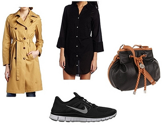 trench coat with running shoes