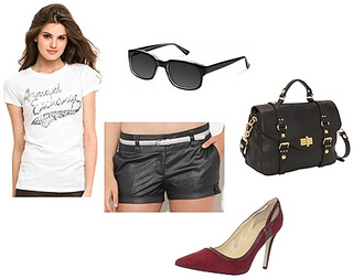 white tee and black shorts summer outfit