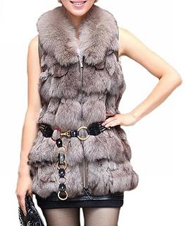Long Womens Fox Fur Vest With Fox Collar