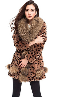 Long Womens Rex Rabbit Fur Coat Jacket With Raccoon Collar