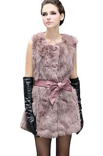 Real Genuine Rex Rabbit Fur Vest With Round Collar