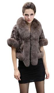 Real Mink Fur Coat Jacket With Fox Trim And Super Fox Collar