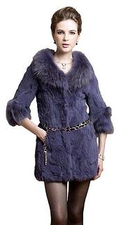Real Rex Rabbit Fur Coat Jacket With Big Raccoon Collar