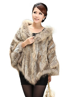 Womens Knitted Rabbit Fur Poncho Stole With Hood With Raccoon Trim And Raccoon Collar