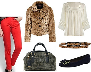 leopard jacket with red pants for fall