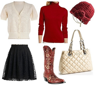sweater layering with skirt and western boots for fall