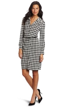 work dress - Womens Houndstooth Printed Polo Dress
