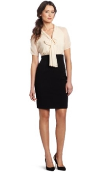 work dress - Womens Structured Sleeve Twofer Dress