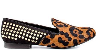 Francie - Leopard Black Lthr smoking slipper