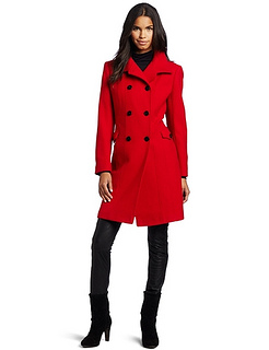 Nicole Miller Womens Architectural Bright Red Coat