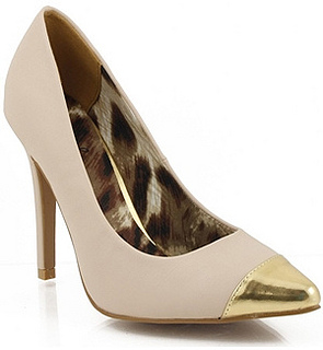 Pointy Toe Cap Toe Pumps NUDE
