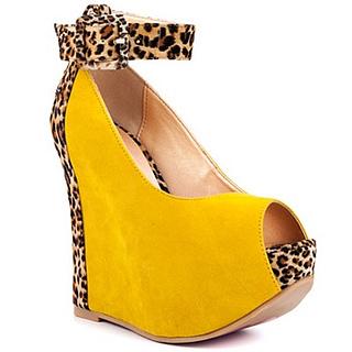 Rox Ee - Yellow Leopard Wedge