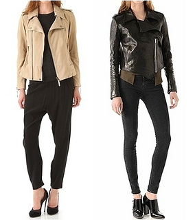 biker jacket worn with neutrals