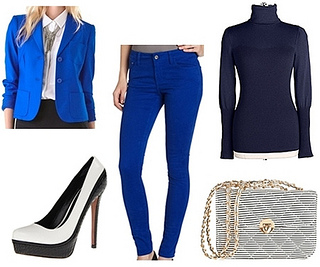 bright blue jacket and blue colored jeans outfit