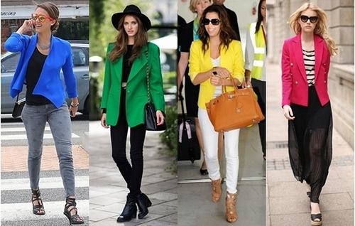 celebrities wearing bright blazer