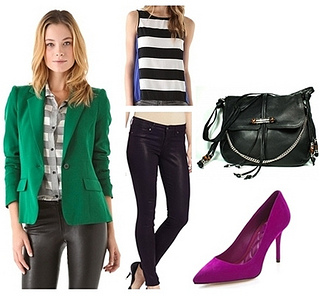 how to wear bright green blazer
