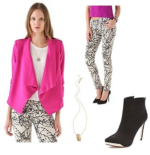 how to wear bright pink blazer