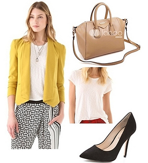 how to wear bright yellow blazer