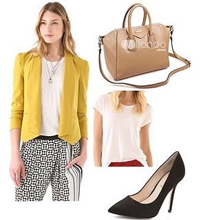 how to wear bright yellow blazer