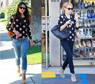how to wear polka dot sweater with ankle boots