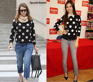 how to wear polka dot sweater with jeans