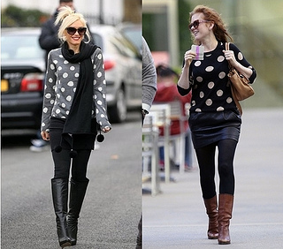 how to wear polka dot sweater with skirt and riding boots