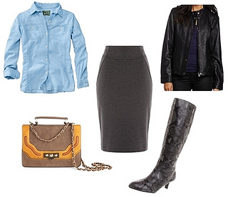 leather jacket with snake print tall boots