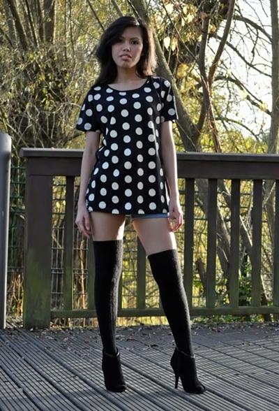 polka dot top with knee high socks
